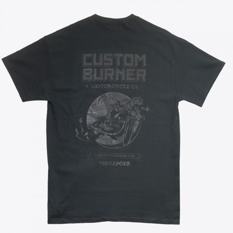 customburner tee shirt in black